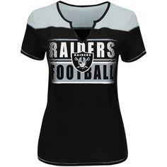 Oakland Raiders Majestic Women's Plus Size Football Miracle T-Shirt - Black/Gray
