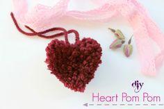 DIY Heart Pom Pom!!! #yarn #diy #craft #heart #pompom #Valentine #love #decor