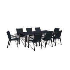 Urban Furnishing Modern Outdoor Black 9-Piece Patio Dining S