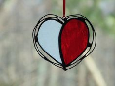 Heart suncatcher stained glass and wire by DesignsStainedGlass