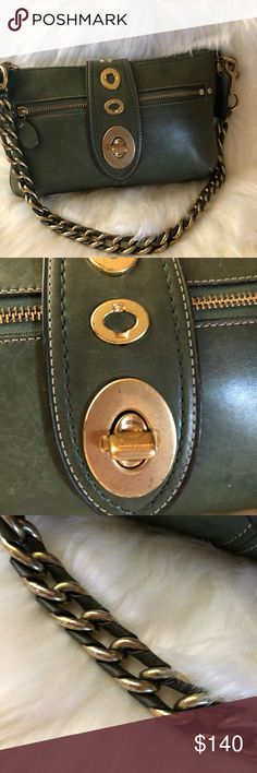 RARE COACH LILY ANNIVERSARY Legacy BAG LIMITED ED Coach Legacy Lily Purse  Hunter Green Purse Baguette Shoulder Bag Burnished Leather Turnlock Flap  Top Zip ... 50733d436301c
