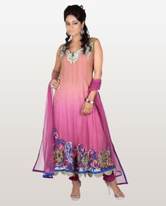 Pink and Green Net Anarkali Suit with Rich Hem