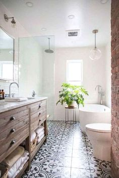 Farmhouse bathroom style, bathroom inspiration, and master bathroom some ideas. A round up of dream master bathroom designs, rustic master bathroom a few ideas and tips for styling your powder rooms. Bad Inspiration, Bathroom Inspiration, Bathroom Ideas, Bathroom Inspo, Bathroom Pics, Bathroom Remodeling, Neutral Bathroom, Bathroom Makeovers, House Remodeling