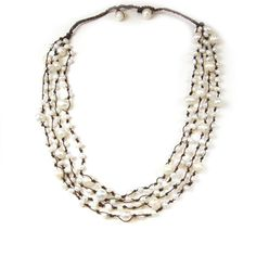 Four Stranded Freshwater Pearl Hand Tied Cord Necklace $21