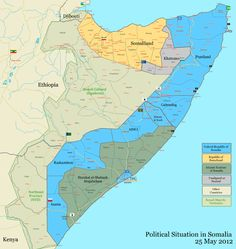 Political map of Somalia as of May, 2012. Somalia is considered a failed state.