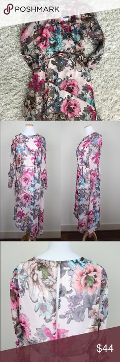 Topshop Floral Sheer Midi Dress, NWT Perfect for working woman or spring bridal/baby showers Topshop Dresses Midi
