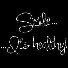 Smile...It's Healthy! Rhinestone TShirt Clothing,womens clothing, top & tee,bling transfer,motif,plus size bling shirt rhinestone gym shirt by BlingnPrintStreet on Etsy https://www.etsy.com/listing/273416570/smileits-healthy-rhinestone-tshirt