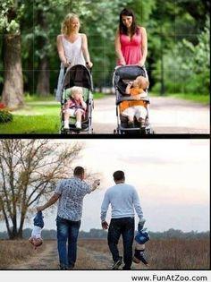 Photos depicting different parenting techniques of women and men