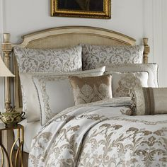 King Comforter Sets, Bedding Sets, Ivory Bedding, Quilted Throw Blanket, Bedroom Fireplace, Luxurious Bedrooms, California King, Dream Bedroom, Bedding Collections