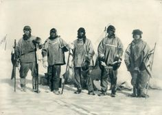 Scott at the South Pole. Photograph shows expedition members Edward A. Wilson, Robert F. Scott, Edgar Evans, Lawrence Oates, and Henry Robertson Bowers at the South Pole standing in front of Roald Amundsen's tent. Robert Falcon Scott, Robert Scott, Captain Scott, Roald Amundsen, Arctic Explorers, Heroic Age, North Pole, Poster Size Prints, Print Poster