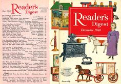 "digestart:    Reader's Digest front and back cover, December 1960  Illustration: ""Toys of Yesteryear"" by Homer Hill"