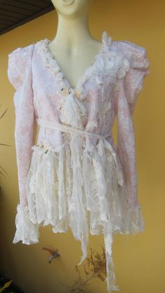 Vintage inspired jacket, pink and ivory floral print and ivory by wildskin, $75.00