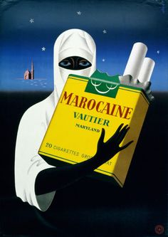 By André Simon, 1945 Switzerland vintage advertisement for Marocaine cigarettes Retro Advertising, Vintage Advertisements, Retro Ads, Vintage Cigarette Ads, Pub Vintage, Ad Of The World, Ad Art, Smoke Art, Poster
