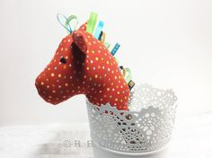 Stick Horse Baby Rattle Plush Toy Red with Dots by RBQuery on Etsy