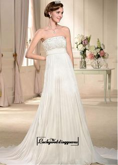 Alluring Satin&Lace&Chiffon Empire Strapless Neckline Empire Waistline Wedding Dress