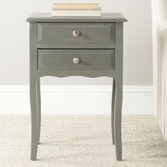 Safavieh Lori Green and Grey Storage End Table - The Home Depot Storage Drawers, Storage Spaces, White End Tables, 2 Drawer Nightstand, Nightstands, Narrow Nightstand, Bedside Tables, Dressers, End Tables With Storage