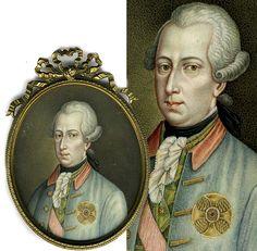 Antique Portrait Miniature, 1700s Josef II, Habsburg Prince, Brother of Marie-Antoinette