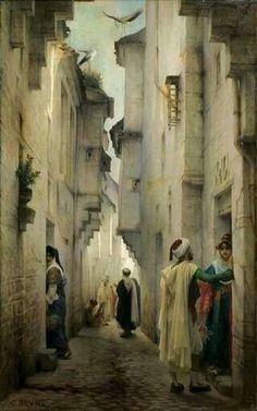 . Algérie - Peintre Français  Guillaume Charles Brun (1825-1908), huile sur toile   , Titre : Conversation  ,  Collection privée