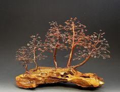 Forest Bonsai Style Copper Wire Tree Art Sculpture - 2240 Free Shipping Mixed Media by Omer Huremovic