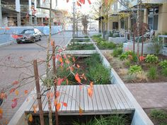 Path crosses a bioswale in Portland, OR. Click image for details & visit the slowottawa.ca boards >> http://www.pinterest.com/slowottawa/