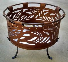 Portable Fire Pit with Stand - Leaf Design