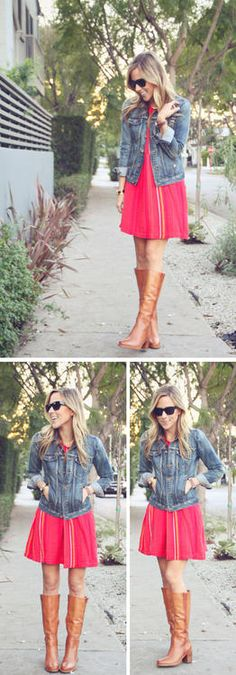 Add a colour pop to tan knee high boots. Boho Outfits, Fashion Outfits, Fashion 101, Denim Jacket With Dress, Jacket Dress, Casual Summer Outfits For Teens, Bohemian Chic Fashion, Fall Dresses, Summer Dresses