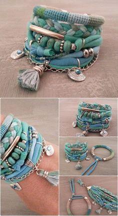 Turquoise Bracelet, Gypsy Bracelet, Seafoam Bracelet, Boho Bracelet Set, Summer Bracelet Tiffany Green, Tassel Bracelet, Turquoise Jewelry