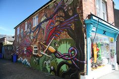 """Shop on Sharrowvale Road, mural by """"Plegm"""" I think. Sources Of Iron, Sheffield City, Yorkshire England, Derbyshire, Urban Art, Art And Architecture, Old And New, Graffiti, Street Art"""
