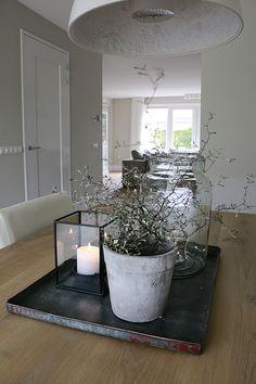 Dienblad eettafel plant en windlicht