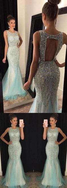 2017 Long Prom Dresses, Long Prom Dress, Backless Prom Dresses,Sparkle Evening Gowns,Tulle Formal Gown For Teens - Custom Dress