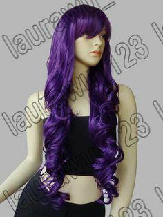 3f0449c7e5 Amazon.com  Long Big Spiral Curl Dark Purple Cosplay Wig 85cm + Free Wig
