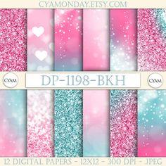 Pink Blue Ombre Digital Paper Princess Queen Glitter: Instant Download. Pink Blye Tie Dye Bokeh Confetti Pattern.