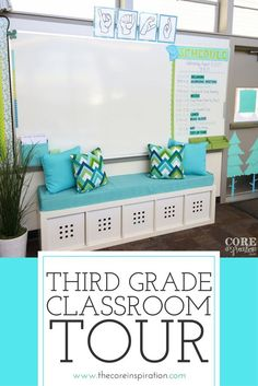Third Grade Classroom Tour : Designed For Self-Directed Learning This third grade classroom is an elementary teacher's dream. Bright blues and green. Love the way the classroom uses flexible seating withou Classroom Layout, Classroom Decor Themes, New Classroom, Classroom Design, Classroom Organization, Classroom Ideas, 4th Grade Classroom Setup, Classroom Color Scheme, Elementary Classroom Themes