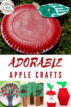 Cute and easy apple crafts for kids to make this Fall. These simple Autumn crafts are perfect for preschoolers and great for an apple theme! Painting crafts, apple prints, paper apples, even some math and patterning crafts using apples! Easy Fall Crafts, Easy Arts And Crafts, Crafts For Kids To Make, Arts And Crafts Projects, Apple Crafts, Preschool Arts And Crafts, Non Toy Gifts, Apple Art, Apple Theme