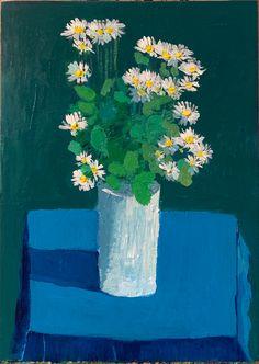 Acrylic Paint On Wood, Acrylic Painting Canvas, Painting On Wood, Canvas Art, Panel Art, Wood Paneling, Blue Flowers, Vibrant Colors, Daisy