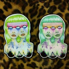 3Eyez tattooed chicks sticker. Choose your color