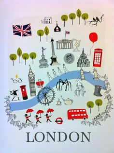 Illustrated map of London by Love Love Me Do Designs $20CAD on Etsy
