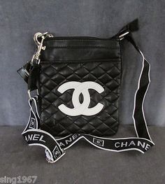 Chanel Crossbody Bag Black Leather Purse Womens Tote