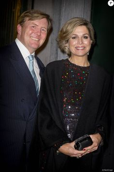Le roi Willem-Alexander et la reine Maxima des Pays-Bas au Palais des beaux-arts de Bruxelles le 22 janvier 2016 pour un concert donné en l'honneur de la présidence néerlandaise de l'Union européenne.