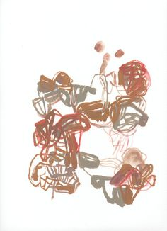 Abstract painting, gouache on paper, Olivier Umecker