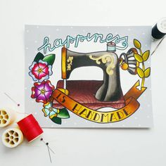 This original Happiness is Handmade painting is part of a series of four paintings illustrating the joy that accompanies handmade.    Featuring a