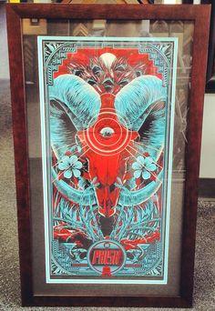 Custom framed Phish poster using black and turquoise acid-free mats, conservation glass, an a cherry walnut frame! Looks sharp! #art #framing #denver #colorado #phish #concert #tour #poster