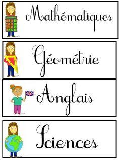 Affichage : Etiquettes pour EMPLOI du TEMPS GEANT | BLOG de Monsieur Mathieu NDL