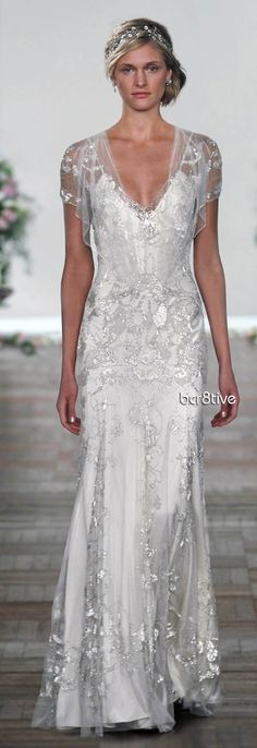 Jenny Packham Spring Summer 2013 - Azalea, with elbow length sleeves, maybe an ice blue under layer, this is probably my ultimate dream dress! I love it.