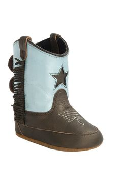 Old West Poppet Brown Varona & Silver Light Blue w/ Star Inlay & Fringe Top Western Infant Booties | Cavender's