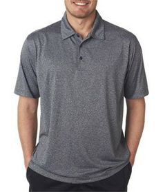 8302 UltraClub® Adult Cool & Dry Elite Micro-Poly Heathered Polo Join the club and choose a heathered polo that will keep you cool and dry indoors or outside 100% micro-polyester 4.5-oz. moisture-wicking UV protection pill-resistant Relaxed Fit self-fabric collar 3-button clean-finished placket hemmed sleeves double-needle bottom hem clean finished side vents Sizes: S-4XL