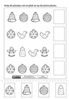 Knip de plaatjes uit en plak ze op de juiste plaats. [Marije Andringa] Learning Centers, Crafts For Kids, Classroom, Christmas, Inspiration, Preschool, Activities, Note Cards, Xmas