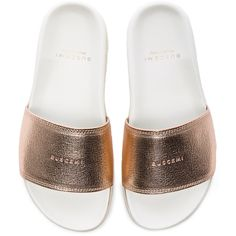 Shop for Buscemi Leather Slide Sandals in Rose Gold at FWRD. 8b14d7692dd
