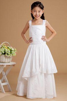 Sweet White Taffeta Flower Girl Dress - Order Link: http://www.theweddingdresses.com/sweet-white-taffeta-flower-girl-dress-twdn1130.html - Embellishments: Applique , Beading , Ruched , Sequin , Tiered; Length: Floor Length; Fabric: Taffeta; Waist: Natural - Price: 74.79USD