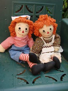 Vintage Pair of Handmade Raggedy Ann and Andy by thecherrychic